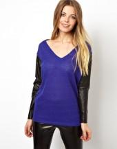 ASOS Top with V Neck and Leather Look Sleeves