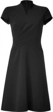 Ralph Lauren Collection Black Double-Face Wool Crepe Harper Dress