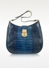 L.A.P.A. Indigo Blue Croco Stamped Italian Leather Hobo Bag