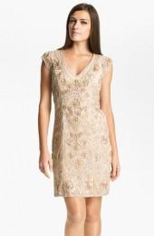 Sue Wong Embellished Illusion Back Sheath Dress