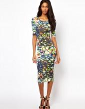 Oh My Love Midi Bodycon Dress in Stained Glass Print