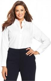 Jones New York Signature Plus Size Top, Easy Care Long-Sleeve Shirt