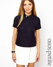 ASOS PETITE Exclusive Top With Lace Front and Leather Look Collar