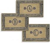 """Leafy Vine Blue 38"""" x 60"""" Monogrammed Doormat"""