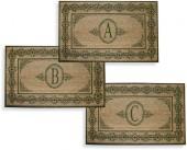 """Scrolling Green 38"""" X 60"""" Monogrammed Doormat"""