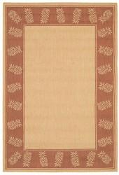 "Couristan Area Rug, Recife Indoor/Outdoor 1177/1112 Tropics Natural-Terra-cotta 3' 9"" x 5' 5"""