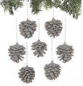 Mini Beaded Silver Pinecone Ornaments Set of Six