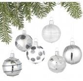 Glitter Design Silver Ball Ornaments Set of Six