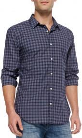 7 For All Mankind Mini-Plaid Button-Down Shirt, Navy