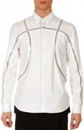 Givenchy Basketball-Zipper Shirt, White
