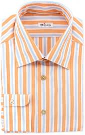Kiton Track-Stripe Dress Shirt, Orange