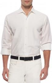 Loro Piana Sahara Melange Andre Linen Shirt, White
