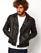 ASOS Leather Biker Jacket In Slim Fit