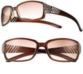 Candie's ® wavy etched rhinestone rectangular sunglasses - women