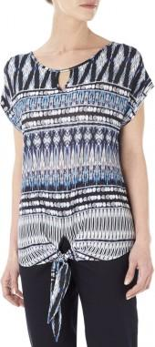 Navy Tie Front Tribal Print Top