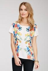 FOREVER 21 Watercolor Floral Chiffon Top
