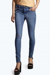Jess Mid Rise Super Skinny Knee Slash Jeans