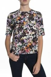 Charles Henry Contrast Floral Top