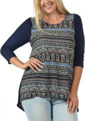 Navy Paisley Stripe Front Top - Plus
