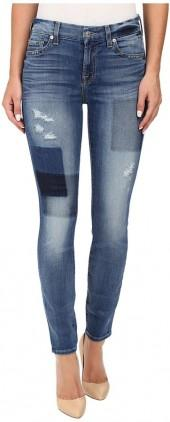 7 For All Mankind Ankle Skinny w/ Clean Patches in Light Patched Denim
