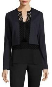 Elie Tahari Britta Crochet Trim Linen-Blend Jacket