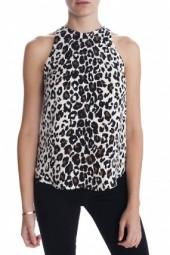 A.L.C. Anise Leopard Printed Top White