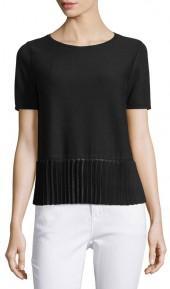 Lafayette 148 New York Pleated-Hem Short-Sleeve Sweater