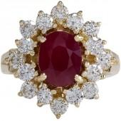 14K Yellow Gold Red Ruby Diamond Ring Size 5