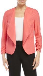 xoxo Coral Linen Open Front Blazer