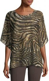 Grayse Embellished-Neck Tiger-Print Poncho
