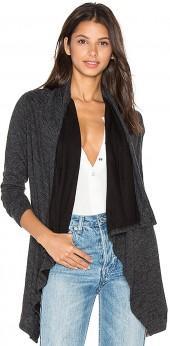 Bobi Fine Woolen Jersey Long Sleeve Wrap Cardigan in Charcoal