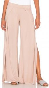 Michael Lauren Troy Wide Leg Pant with Slit in Mauve