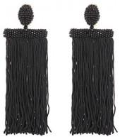 Oscar de la Renta Fringed clip-on earrings
