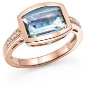 Aquamarine and Diamond Statement Ring in 14K Rose Gold - 100% Exclusive