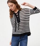 Petite Striped Lace Up Sweater
