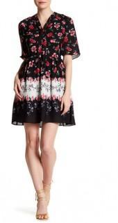 CeCe by Cynthia Steffe Elise Tie Neck Floral Dress