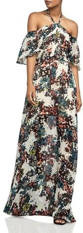 BCBGMAXAZRIA Off-the-Shoulder Printed Halter Gown
