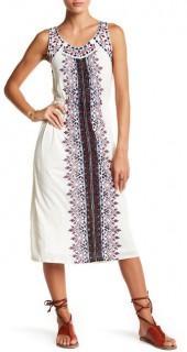 Lucky Brand Embroidered Linen-Blend Dress