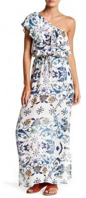 Lucky Brand Skylar Floral One-Shoulder Maxi Dress