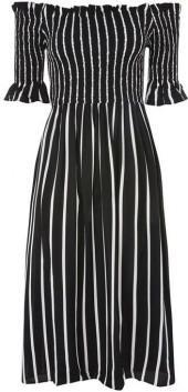 Topshop Shirred stripe midi dress