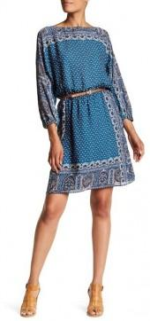 Joie Emory Printed Belted Silk Dress