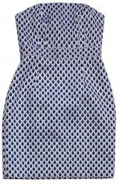 Lilly Pulitzer Blue & Silver Scale Print Strapless Dress