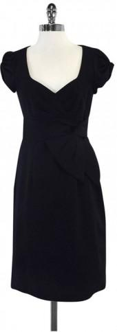 Nanette Lepore Black Gathered Cap Sleeves Bow Dress