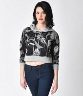 Black & Grey Long Sleeved Disney Villains Crop Sweater