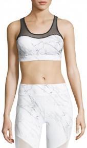Ziane Active Element Mesh Marble Sports Bra, White/Multi