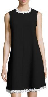 Nanette Nanette Lepore Daisy-Appliqué Crepe Trapeze Dress, Black