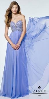 Alyce Paris Strapless Sweetheart Embellished Silk Chiffon Prom Dress