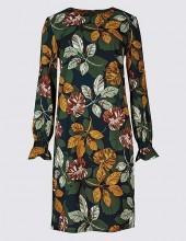 Leaf Print Flared Cuff Tunic Dress