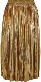 Mes Demoiselles - Sadiola Pleated Silk And Lurex-blend Midi Skirt - Gold