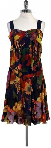 Ted Baker Navy Chiffon Print Dress